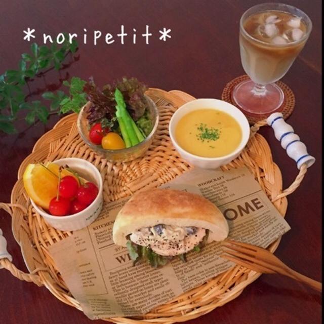 簡単・鶏ハム&オススメきのこサラダdeピタサンドのワンプレート♡