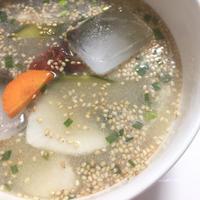 焙煎ごまスープとぬか漬けで水キムチ風に!