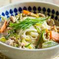 野菜たっぷり・ちゃんぽん風豆乳うどんレシピ(冷蔵庫整理にもww)