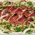 火を使わない 旬のお魚 晩ごはん*薬味いっぱい かつおのたたき&するめいかとオクラの和えもの♪