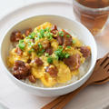 【日本の朝ごはん】やきとり缶の親子丼風♡簡単レンチン1分30秒♪GABANスパイスが味の決め手!