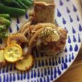 高野豆腐入り鶏つくねバーグの和風茸あんかけとスコッチエッグ