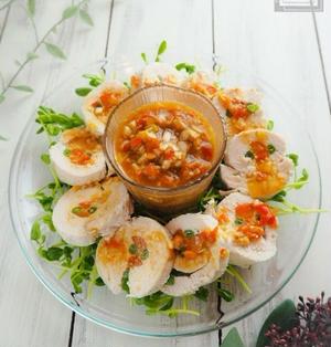 【レシピ】ねぎトマト中華ダレのチキンロール