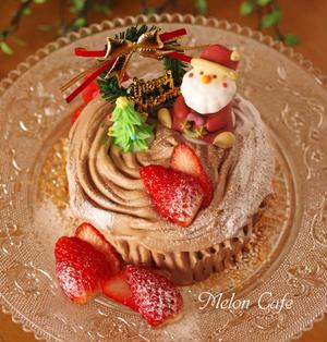【レシピ】ホットケーキミックスとレンジで作る、切り株チョコの簡単クリスマスケーキ(ブッシュドノエル)