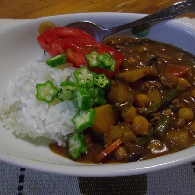 お味噌味の夏野菜カレー