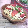 レンジで簡単えのきと水菜とサラミのめんつゆ合え2分30秒(ダイエット)