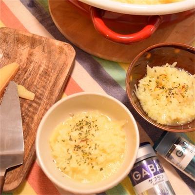 サフランとラクレットのリゾット風雑炊*天満屋福山のチーズ売り場