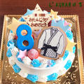 柔道着をドン!凛々しい青で彩るバースデーケーキ。