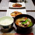 日本酒で煮るさわらのみそ煮(うんまいよ♡)とけんちん汁