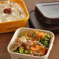 10分節約弁当☆電子レンジだけで作る!豚肉と野菜のレンチン蒸しがメインのお弁当
