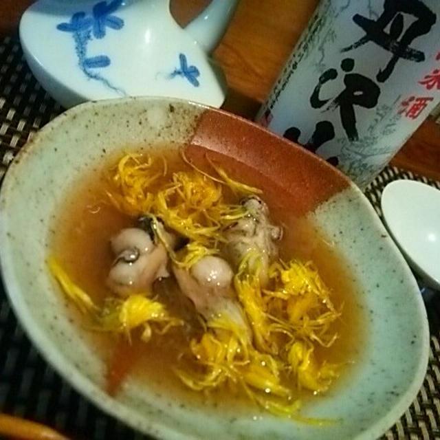 牡蠣の霙煮と燗酒、しめじと牛蒡の豆腐マヨネーズ、秋刀魚の粕漬焼き
