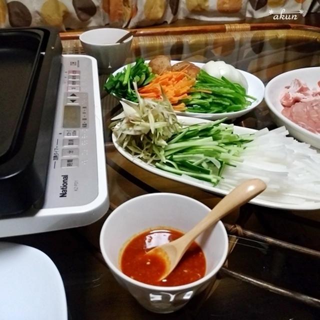 ヤンニョムジャンで焼肉野菜巻きの晩ごはん と 銀4歳