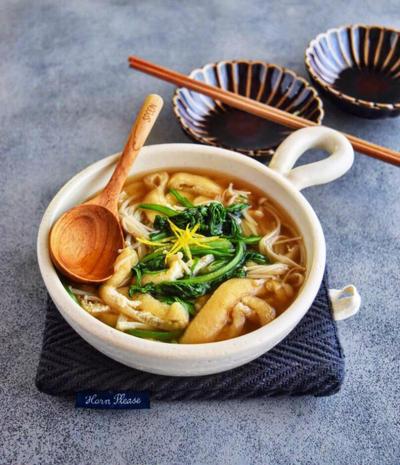 【副菜レシピ】春菊と油揚げのさっと煮#お出汁#うどん#万能だれ#作りおき