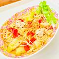 鶏むね肉とパプリカの柚子コショウスープパスタ♡ by Lau Ainaさん