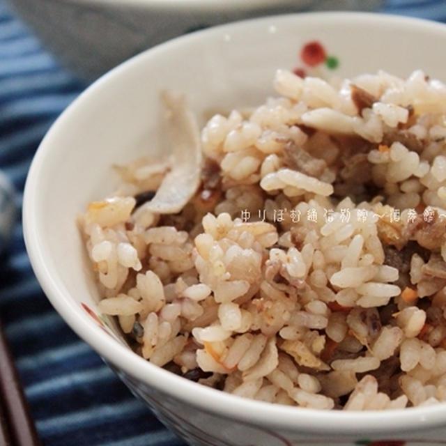 醤油麹を使って、干しハナビラタケ入りの牛ごぼうご飯。