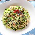 サバ缶と豆苗のしらたきペペロンチーノ【節約ダイエットパスタ】|レシピ・作り方