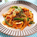 【超低カロリーなダイエットパスタ】鶏胸肉とピーマンのしらたきナポリタン レシピ・作り方