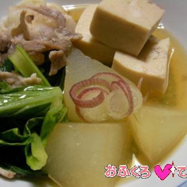 冬瓜と小松菜、豚肉と高野豆腐の煮びたしのレシピ