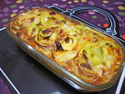 春キャベツと鯖缶のオーブン焼き