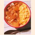 大根二分の一本消費レシピ♪「大根とひき肉のあんかけ丼! クリーミー卵のせ」