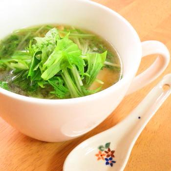 簡単☆水菜と厚揚げのお味噌汁
