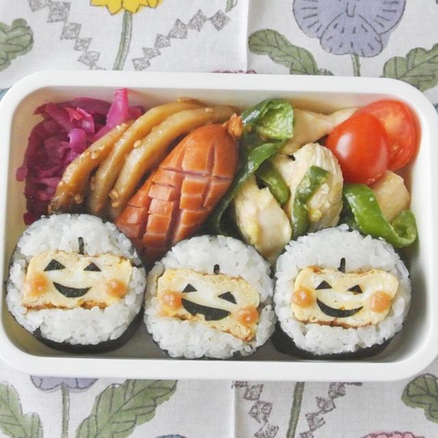 【卵焼きで作るハロウィンのり巻き】のキャラ弁なら簡単かわいい!