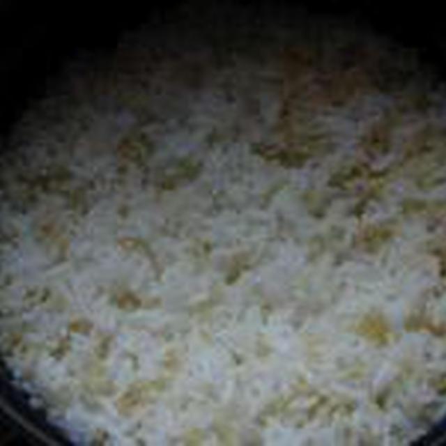 湯立てで白米(486)。。。山形県産つや姫(あいざわ米店)白米と玄米。。。。