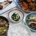 1031.夜ご飯 <焼き魚&根菜野菜とハラミの炒め物とナメコ汁