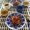 赤パプリカとアンチョビと黒オリーブのガーリックオイルパスタ・三浦産かぼちゃのポタージュ♪