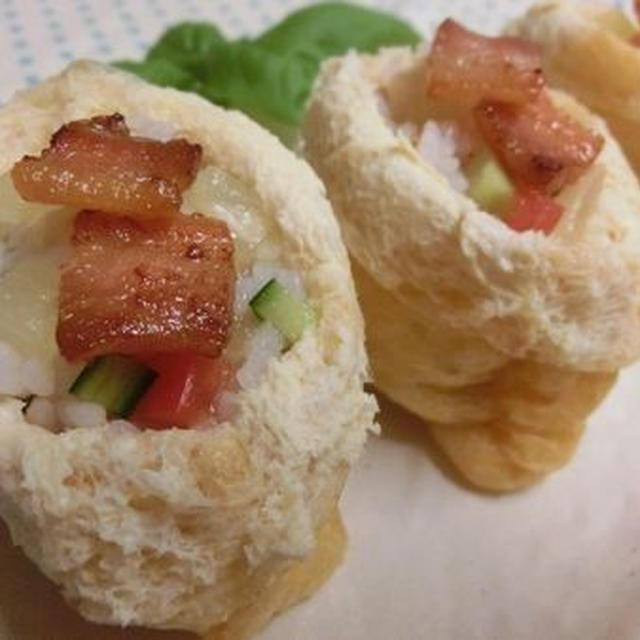 パイン缶で♪ 油揚げはレンチン☆ 簡単オープンいなり寿司