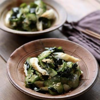 今日の副菜*『ちくわときゅうりとワカメのポン酢ナムル』