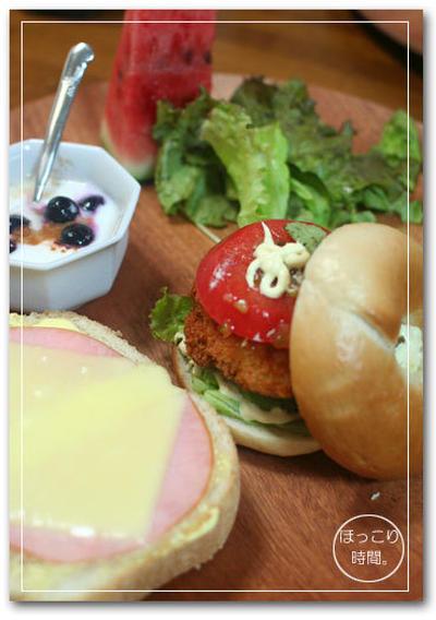 ベーグルとハムチーズトースト☆ワンプレート