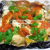 <ホイル焼きであらまあ♪簡単\(~o~)/鶏肉の香草焼き><リンゴの包み焼き(*^_^*)>