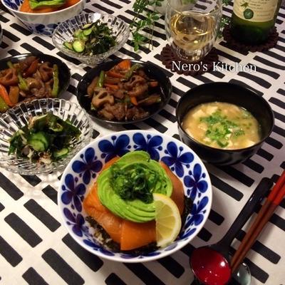 サーモンアボカドん丼・根菜と牛肉の炒り煮♪