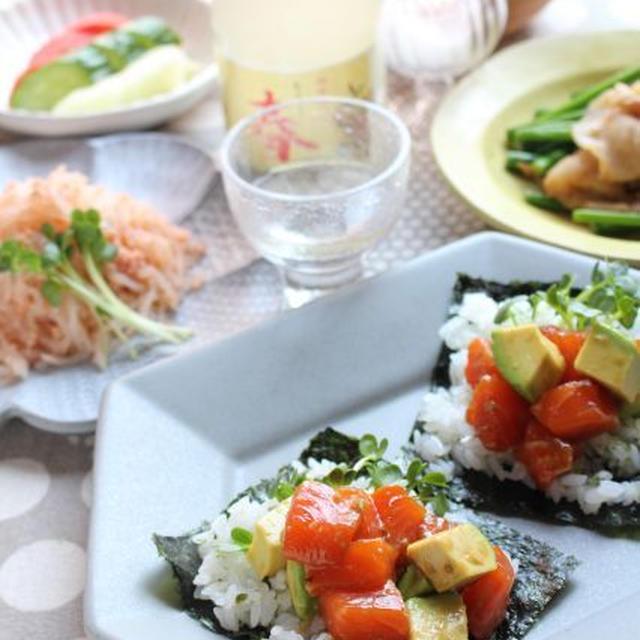 「漬けサーモンとアボカドの手巻き寿司」「明太子しらたき」「豚肉とにんにくの芽の炒めもの」他