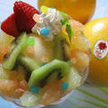 シャリッ!ジューシーな!ルビー&ホワイトフロリダグレープフルーツの簡単ミニパフェ♪