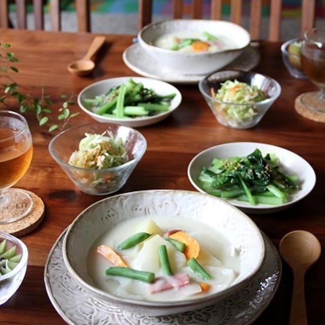 手作りクリームシチュー と 小松菜のソテー。