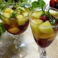リキュールで大人! メロン、桃、ブドウのフルーツビネガーウォーター