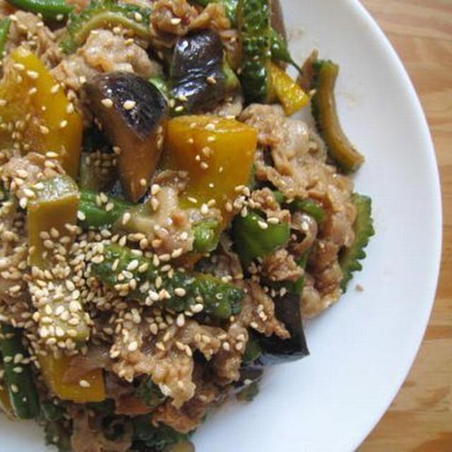 夏野菜と豚肉のテンメンジャン炒め