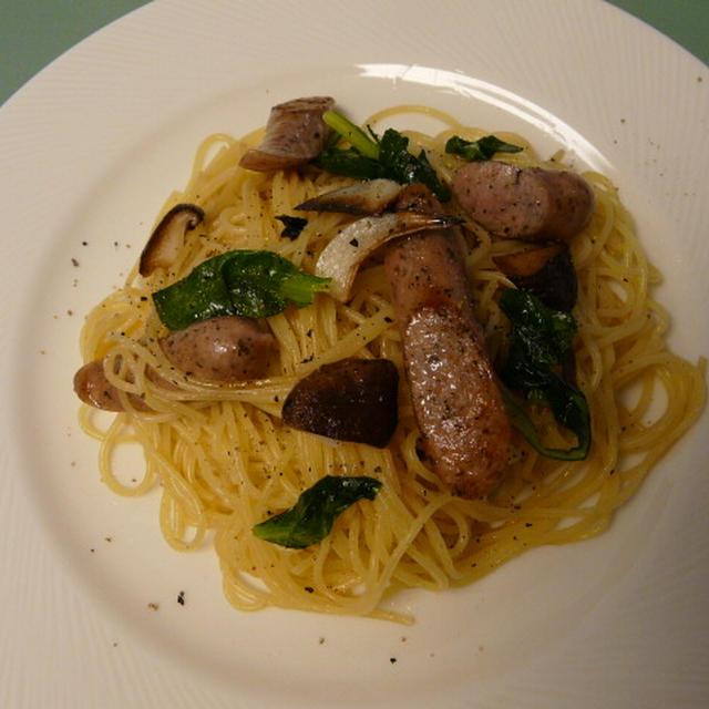 ローズマリーウインナー&青梗菜のペペロンチーノ