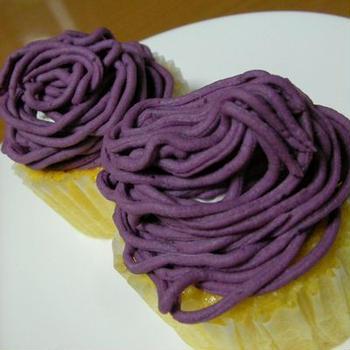 紫芋でモンブラン