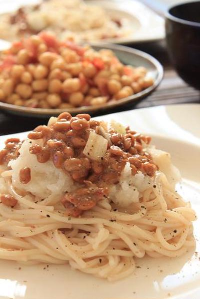 納豆と大根おろしのパスタ。