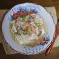 ひんやりスープで味わう 鶏肉ささみと海老のせ冷奴