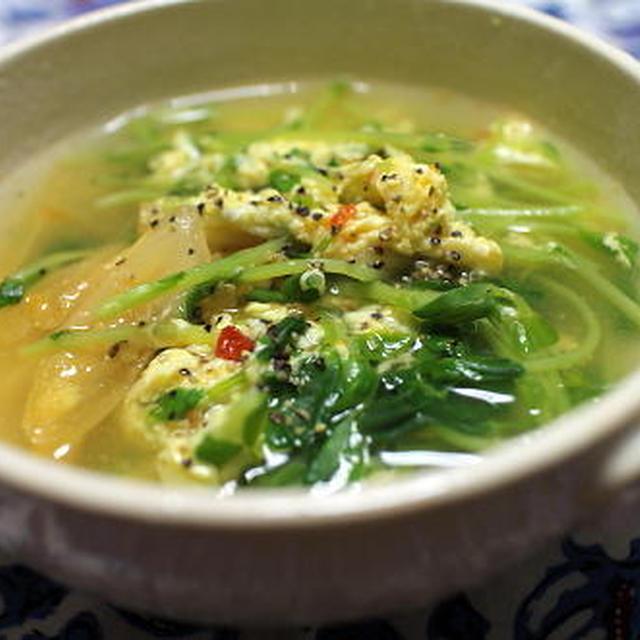 18/03/07 豆苗とキムチの卵スープ