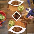 アフタークリスマスの晩ごはん(鹿肉のロースト、カレー、アボカドグリーンサラダ)