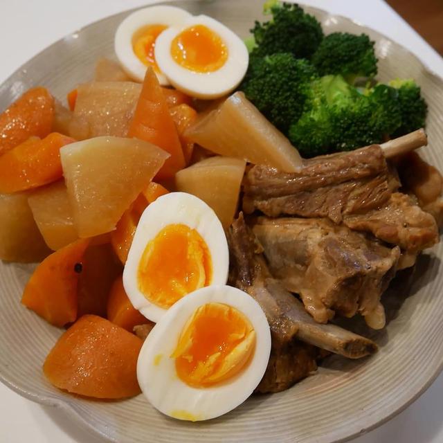 スペアリブと根菜の煮物と淡麗グリーンラベルの晩ごはん