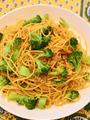アンチョビ&ブロッコリーのカレー風味ペペロンチーノ