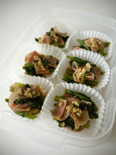 冷凍保存☆小松菜ベーコンの大蒜醤油炒め♪
