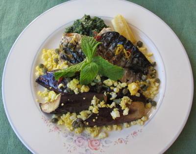 鯖と茄子のグリル&スピナッチとオレンジのサラダ  7・17・2012