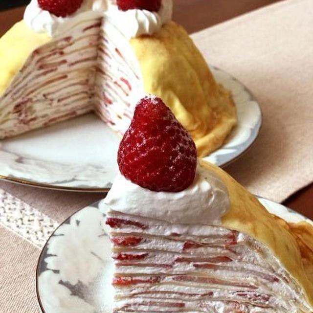 【手作り】簡単♪苺のミルクレープ*オーブン不要【ドームケーキ】